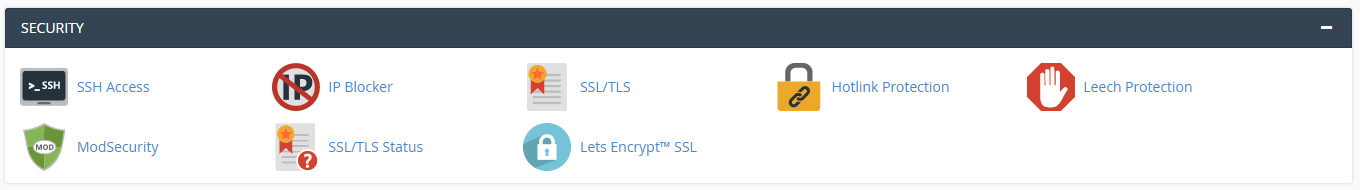 cPanel section for Security tools